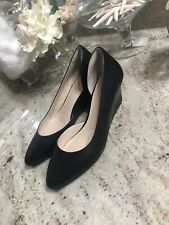 Cole Haan Grand OS Women Wedge 6 B Black  Leather Slip on, Heel Formal Shoes Euc