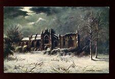 Scotland Roxburghshire Melrose Abbey artist drawn Tuck Oilette #7197 vintage PPC