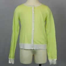 BONPOINT GIRLS SIZE 12 YELLOW GLITTER CUFFS CREWNECK CARDIGAN NWT ORIG $220.00