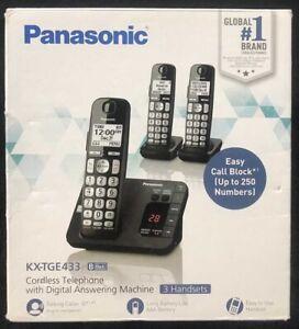 Panasonic KX-TGE433 3 Cordless Phones w/Answering System Black