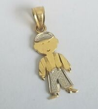 10k Real Gold It Is A Boy child son  baby pendant .85 inch long