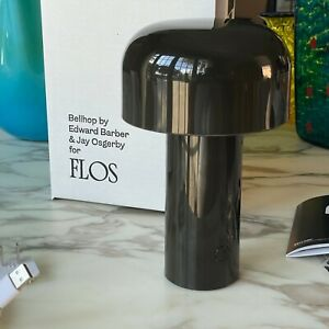 FLOS Bellhop Portable LED Table Lamp Dark Brown by E Barber and Jay Osgerby