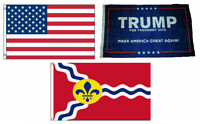 3x5 Trump #1 & USA American & City of St. Louis Wholesale Set Flag 3'x5'