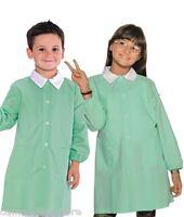 GREMBIULE Divisa Bambina Bambino Per Asilo Scuola Materna Tinta Unita Verde