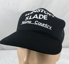 Vtg Winston Slade Young Country Hat Cap Trucker Snapback Music Black Mesh
