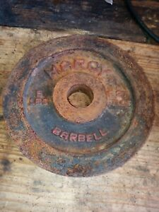 "Marcy Barbell Plate Dumbbell Weight 5lbs lb plate 1"" Red Black vintage round gym"