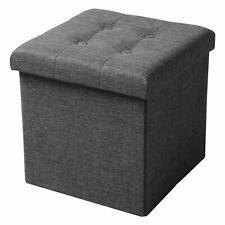 Pouf puff contenitore in tessuto imbottito grigio 38 x 38 x 38cm pieghevole casa