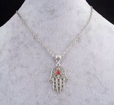 Hamsa Hand With All Seeing Red Diamante Eye Lucky Amulet Silver Chain Necklace