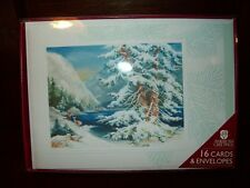 New Boxed Ag American Greet Winter Snow Scene Holiday Christmas Cards Env 16 Ct