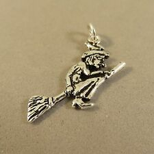 .925 Sterling Silver 2 Sided WITCH ON BROOM CHARM NEW 925 Halloween Holiday HL05