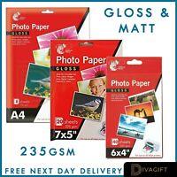"6 x 4"" 7 x 5"" 235gsm High Glossy Matt Premium Quality Inkjet Photo Paper A4"