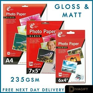 "6 x 4"" 7 x 5"" 235gsm High Glossy Matt Premium Quality Inkjet Photo Paper A4"