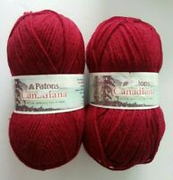 2 Skeins Patons Canadiana Worsted Acrylic Yarn 13 Cranberry Red 3.5 oz 228 yd ea