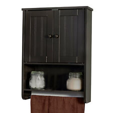 Wall Mount Espresso Bathroom Medicine Cabinet Storage Organizer With Towel Bar