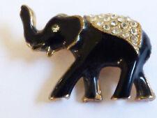 Gold Tone Metal Black Enamel Clear Crystal Rhinestones Elephant Pin Brooch