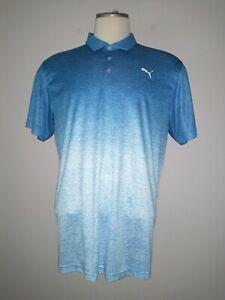 "PUMA CELL SPORT Golf Polo Shirt Men's Size XL PUMA LOGOS heather blue ""PRISTINE"""