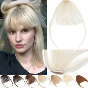 Topper Hair Piece Neat Bangs Remy Hair Extensions Clip in Fringe Front Hairpiece