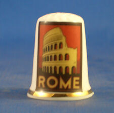Birchcroft China Thimble -- Travel Poster Series - Rome - Free Dome Gift Box