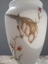Vase opaline décor oiseau sur branche fleurie
