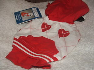 DOG HOODIE TENNIS DRESS SMALL MEDIUM AND LARGE RED AND WHITE HEARTS