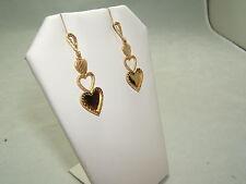 Beautiful Classy 14K Yellow Gold Triple Heart Dangle Earings!!  1.25 Inches Long