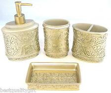 4 PC GOLD DETAIL RESIN SOAP,LOTION DISPENSER+SOAP DISH+TOOTHBRUSH HOLDER+TUMBLER