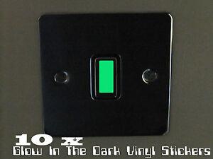 Glow In The Dark Vinyl Light Switch Stickers x 10