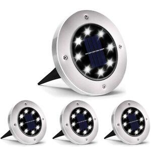 4 FARO LAMPADA LED SOLARE DA ESTERNO GIARDINO FARETTO 8 LED PICCHETTO SEGNAPASSI