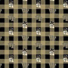 Wake Forest Demon Deacons Buffalo Plaid Fleece Fabric-NCAA Blanket Fabric