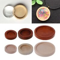 10PCS/Lot Wooden Round Frame Cabochon Setting Bottom UV Resin Charm Jewelry DIY