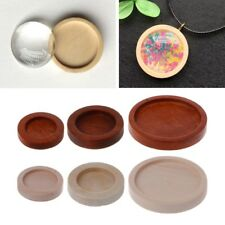 10PCS Wooden Round Frame Cabochon Setting Bottom UV Resin Charm DIY Jewelry Lot