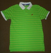 Mens NIKE Lime Green Yellow Striped Polo SHIRT Size L Golf Short Sleeve Bright