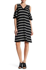 Max Studio S Stripe Cold Shoulder Dress Black & White Striped NWT Small $98