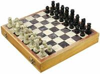 Marble Soapstone Chess Board Game (Multicolour, 10-inch) Collectible Item