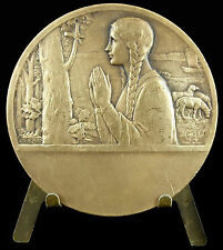 Médaille religieuse Sainte Geneviève Paris Becker Nanterre c1930 religious medal