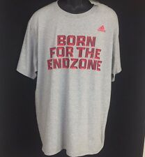 """adidas 'Go Too Tee' Size XL T-Shirt """"Born for the Endzone"""" Red/Gray Football"""