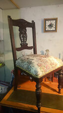 Antique edwardian sculpté en acajou rembourré make up/soins infirmiers chambre chaise.