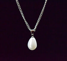 White Pearl Teardrop Pendant Necklace Bridesmaid Prom Bridal Silver Tone Chain