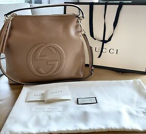Authentic Gucci Soho Hobo leather bag purse excellent condition Rose Beige