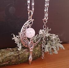 PAGAN WICCA TRIPLE GODDESS MOON NECKLACE SILVER AMULET MOONSTONE FERTILITY