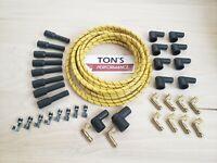 DIY Universal Cloth Covered Spark Plug Wire Kit Set Vintage Wires v6 v8 Yellow B