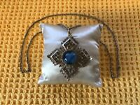Vintage Beautiful Exquisite Signed Blue Tigers Eye And Silver Tone Necklace