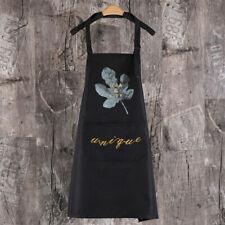 Women Bib Apron Water Resistant Large Pocket Cooking Kitchen Apron Adjustable