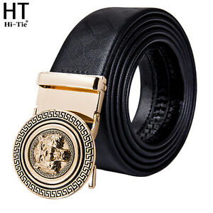 Mens Genuine Leather Belt Gold Tiger Metal Automatic Buckles Strap Waistband