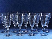 9 Vtg. HAWKES Cut Crystal 6030-4 Optic Water Goblets- Cut Dots & Fans- EC