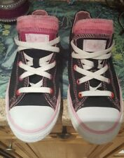 junior converse ALLSTARS BLACK WITH PINK TRIM PINK INNER SOLE SIZE 3