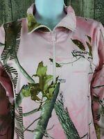 REALTREE Women's 1/4 Zip Camo Performance Layer Shirt Sz L Pink