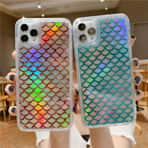Case For iPhone 12 Pro Max 11 XS XR 8 7 Bling Fish Scales Liquid Quicksand Cover