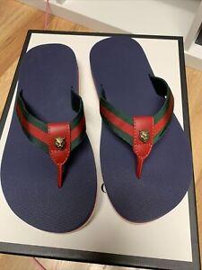 Men's Gucci Web Accent Flip Flops 8G /9US $795