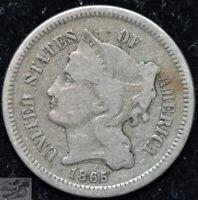 1865 Three Cent Nickel, Fine+ Condition, Buy 4 Items & Get $5 Off, C5079